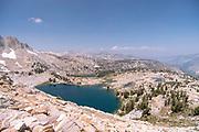 The view along the John Muir Trail overlooking Chief Lake, John Muir Wilderness, Sierra National Forest, Sierra Nevada Mountains, California, USA.