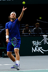 November 1, 2017 - Paris, France - The French player LUCAS POUILLE returns the ball to Spanish player FELICIANO LOPEZ during the tournament Rolex Paris Master at Paris AccorHotel Arena Stadium in Paris France.Lucas Pouille won 6-3 6-4 (Credit Image: © Pierre Stevenin via ZUMA Wire)