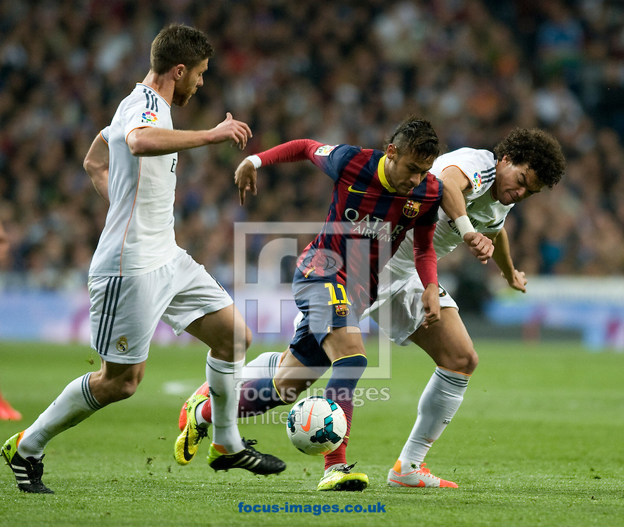 Pepe of Real Madrid and Neymar of FC Barcelona during the La Liga match at the Estadio Santiago Bernabeu, Madrid<br /> Picture by Marcos Calvo Mesa/Focus Images Ltd +34 654142934<br /> 23/03/2014