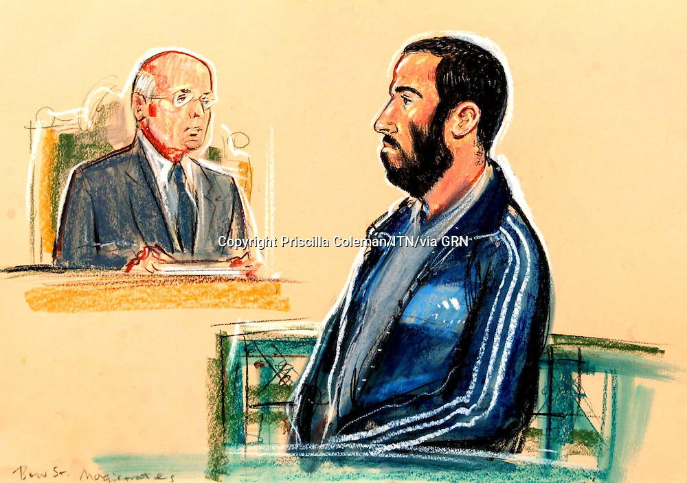 ©PRISCILLA COLEMAN- ITN 17.11.05.SUPPLIED BY PHOTONEWS SERVICE LTD.PIC SHOWS: COURT ARTIST IMPRESSION OF MOUTAZ ALMALLAH DABAS,39 AT BOW STREET MAGISTRATES COURT TODAY FOR HIS EXTRADITION HEARING..