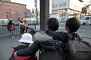 public school children hanging around on their way home Kamakura Japan