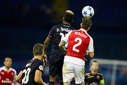 Mathieu Debuchy #2 of Arsenal F.C. and Junior Fernandez #11 of GNK Dinamo Zagreb during football match between GNK Dinamo Zagreb, CRO and Arsenal FC, ENG in Group F of Group Stage of UEFA Champions League 2015/16, on September 16, 2015 in Stadium Maksimir, Zagreb, Croatia. Photo by Urban Urbanc / Sportida
