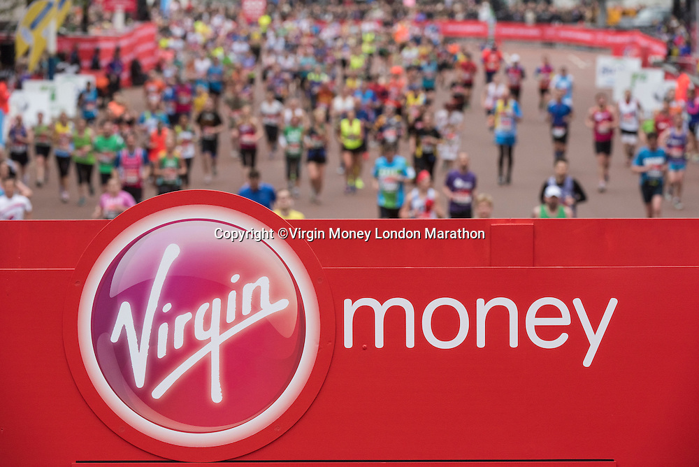 The mass of runners at the finish of the Virgin Money London Marathon on The Mall. Sunday 26th April 2015.<br /> <br /> Dillon Bryden for Virgin Money London Marathon<br /> <br /> For more information please contact Penny Dain at pennyd@london-marathon.co.uk