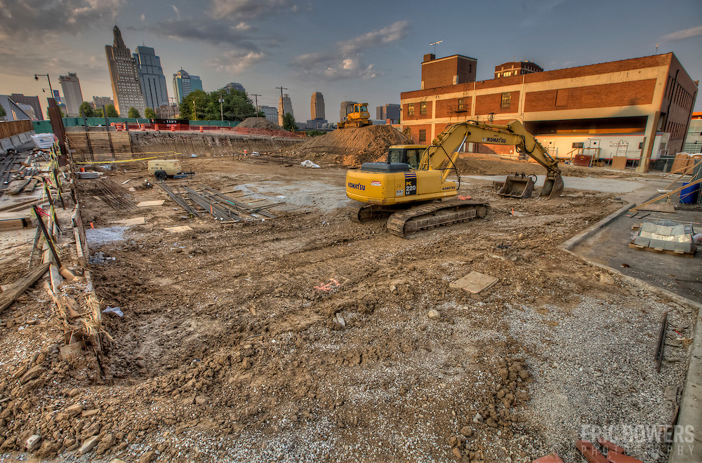 Demolition site of Orion Pictures Building at 17th and Wyandotte St in downtown Kansas City, Missouri.