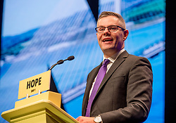 Pictured: SNP chairman and Finance Secretary Derek MacKay MSP delivered an emotional address to the conference in his last speech as Chairman.<br /> <br /> &copy; Dave Johnston / EEm