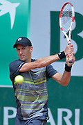 Jarkko Nieminen from Finland competes in men's single first round while Day First during The French Open 2014 at Roland Garros Tennis Club in Paris, France.<br /> <br /> France, Paris, May 25, 2014<br /> <br /> Picture also available in RAW (NEF) or TIFF format on special request.<br /> <br /> For editorial use only. Any commercial or promotional use requires permission.<br /> <br /> Mandatory credit:<br /> Photo by &copy; Adam Nurkiewicz / Mediasport