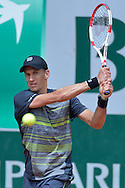 Jarkko Nieminen from Finland competes in men's single first round while Day First during The French Open 2014 at Roland Garros Tennis Club in Paris, France.<br /> <br /> France, Paris, May 25, 2014<br /> <br /> Picture also available in RAW (NEF) or TIFF format on special request.<br /> <br /> For editorial use only. Any commercial or promotional use requires permission.<br /> <br /> Mandatory credit:<br /> Photo by © Adam Nurkiewicz / Mediasport
