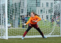 14 Aug 2016:  Tipperary goalkeeper Marie O'Brien fails to save winning shot by Kayleigh McLoughlin of Mayo during the sudden death penalty shoot-out of the Girls U13 futsal 2nd/3rd place play-off, Mayo v Tipperary.  2016 Community Games National Festival 2016.  Athlone Institute of Technology, Athlone, Co. Westmeath. Picture: Caroline Quinn