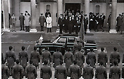 President Patrick Hillery Inauguration at Dublin Castle .03/12/1976.12/03/1976.3rd December 1976.Photograph of An Taoiseach Liam Cosgrave and other dignitaries as they wait for the President Hillerys motorcade to leave Dublin Castle.