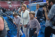 House minority leader Nancy Pelosi walks through the Wells Fargo Arena with her grandchildren a day before the start of the Democratic National Convention July 24, 2016 in Philadelphia, Pennsylvania.