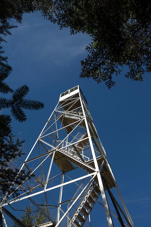 Closeup of Mt. Adams firetower, looking up