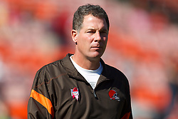 Oct 30, 2011; San Francisco, CA, USA; Cleveland Browns head coach Pat Shurmur watches his team warm up before the game against the San Francisco 49ers at Candlestick Park. San Francisco defeated Cleveland 20-10. Mandatory Credit: Jason O. Watson-US PRESSWIRE
