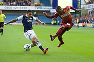 Carlos Edwards of Millwall tries to prevent a cross from Kyel Reid of Bradford City during the Sky Bet League 1 Playoff Semi-final Leg Two at The Den, London<br /> Picture by Alan Stanford/Focus Images Ltd +44 7915 056117<br /> 20/05/2016