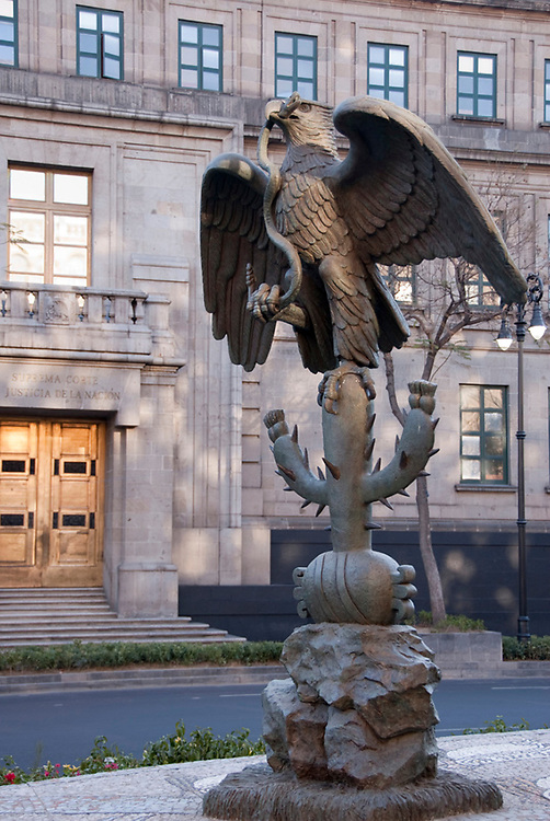 Golden Eagle Devouring a Snake Statue of National Symbol of Mexico  Before Supreme Court, Mexico City Historic Centre, Mexico 2007