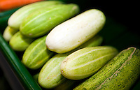 Close-up of fresh cucumbers in supermarket