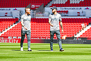 Leeds United midfielder Adam Forshaw (4) and Leeds United midfielder Mateusz Klich (43) arrive at the ground during the EFL Sky Bet Championship match between Stoke City and Leeds United at the Bet365 Stadium, Stoke-on-Trent, England on 24 August 2019.