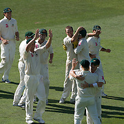 Australia celebrate the dismissal of Danish Kaneria caugh by Shane Watson off the bowling of Nathan Hauritz during the Australia V Pakistan 2nd Cricket Test match at the Sydney Cricket Ground, Sydney, Australia, 6 January 2010. Photo Tim Clayton