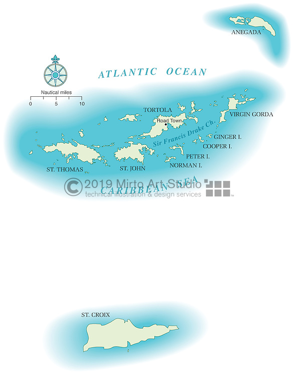 Vector map of Virgin Islands