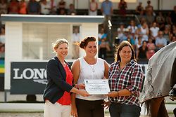 Yanik Yasmine, Ynik Sarah, breeders of, Revolution, Brandtner Nadine, WBFSH<br /> with the breeders Yasemin and Sarah Yanik<br /> World ChampionshipsYoung Dressage Horses<br /> Ermelo 2018<br /> © Hippo Foto - Dirk Caremans<br /> 04/08/2018