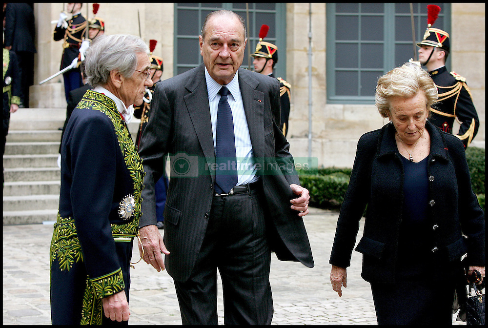 September 21, 2016 - Paris, France - JACQUES ET BERNADETTE CHIRAC - INTRONISATION DE SIMONE VEIL, A L'ACADEMIE FRANCAISE. (Credit Image: © Visual via ZUMA Press)