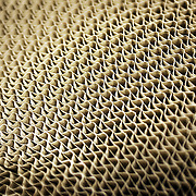 Abstract Close Up Image Of A Roll Of Corrugated Cardboard Used As A Packaging Material
