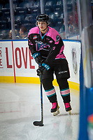 KELOWNA, CANADA - OCTOBER 21: Colum McGauley #23 of the Kelowna Rockets warms up with the puck against the Portland Winterhawks on October 21, 2017 at Prospera Place in Kelowna, British Columbia, Canada.  (Photo by Marissa Baecker/Shoot the Breeze)  *** Local Caption ***