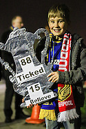 An AFC Wimbledon fan holds a mock FA Cup referencing the 1988 cup final ahead of the FA Cup match at the Cherry Red Records Stadium, Kingston<br /> Picture by David Horn/Focus Images Ltd +44 7545 970036<br /> 05/01/2015