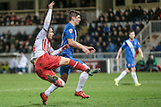 Dean Parrett (Stevenage) takes a shot but misses during the Sky Bet League 2 match between Hartlepool United and Stevenage at Victoria Park, Hartlepool, England on 9 February 2016. Photo by Mark P Doherty.