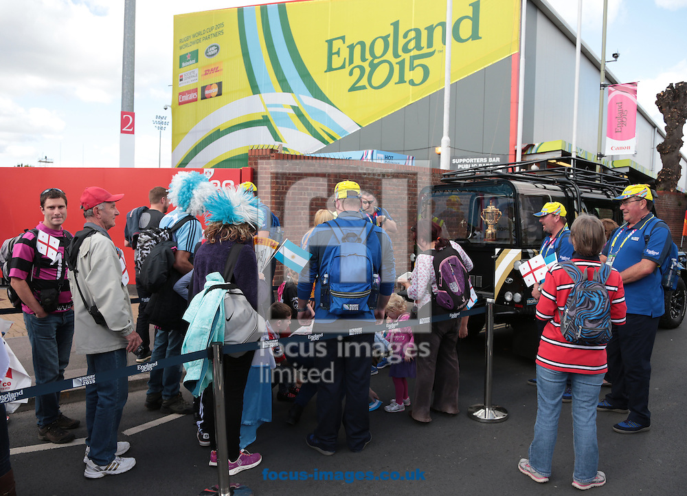 Fans queuing to see the Webb Ellis Cup before the 2015 Rugby World Cup match at Kingsholm Stadium , Gloucester<br /> Picture by Michael Whitefoot/Focus Images Ltd 07969 898192<br /> 25/09/2015