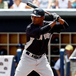 March 21, 2012; Port Charlotte, FL, USA; New York Yankees center fielder Dewayne Wise (38) against the Tampa Bay Rays during a spring training game at Charlotte Sports Park.  Mandatory Credit: Derick E. Hingle-US PRESSWIRE