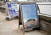 Information boards for boat trips to Flat Holm and Steep Holm islands, Weston super Mare, Somerset, England