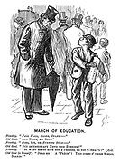 "March of Education. Newsboy. ""Pall Mall, Globe, Stand -""  Old gent. ""Any news, my boy?"" Newsboy. ""Echo, sir, or Evening Stan-"" Old gent. ""But is there any news this evening?"" Newsboy. ""You want me to give you a PRESSEE, do you? - Shan't!"" [Exit. Old gent (to himself). ""Dear me! A precis'! this comes o' those school boards!"""
