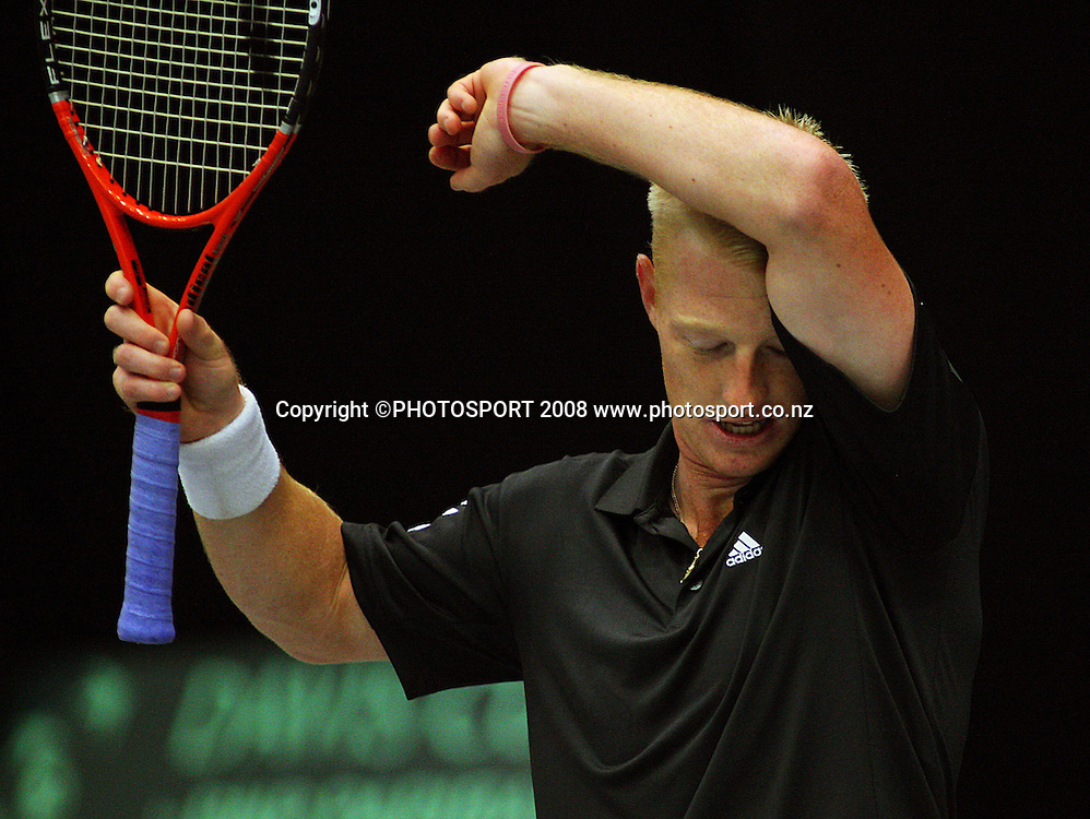 Daniel King-Turner.<br /> Davis Cup Tennis singles, final day - New Zealand v China at TSB Stadium, New Plymouth, New Zealand. Sunday, 21 September 2008. Photo: Dave Lintott/PHOTOSPORT
