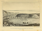 View of the ruins of the ancient monuments of Tiaguanaco. Near La Paz. (Bolivia.) [Tiwanaku (Tiahuanaco or Tiahuanacu) is a Pre-Columbian archaeological site in western Bolivia near Lake Titicaca and one of the largest sites in South America.] sketch From the book 'Voyage dans l'Amérique Méridionale' [Journey to South America: (Brazil, the eastern republic of Uruguay, the Argentine Republic, Patagonia, the republic of Chile, the republic of Bolivia, the republic of Peru), executed during the years 1826 - 1833] 3rd volume By: Orbigny, Alcide Dessalines d', d'Orbigny, 1802-1857; Montagne, Jean François Camille, 1784-1866; Martius, Karl Friedrich Philipp von, 1794-1868 Published Paris :Chez Pitois-Levrault et c.e ... ;1835-1847