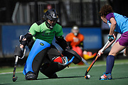 Monkstown's Liz Murphy closes down the angles in the shoot-out during the 7/8 play-off at the EHCC 2017 at Den Bosch HC, The Netherlands, 5th June 2017