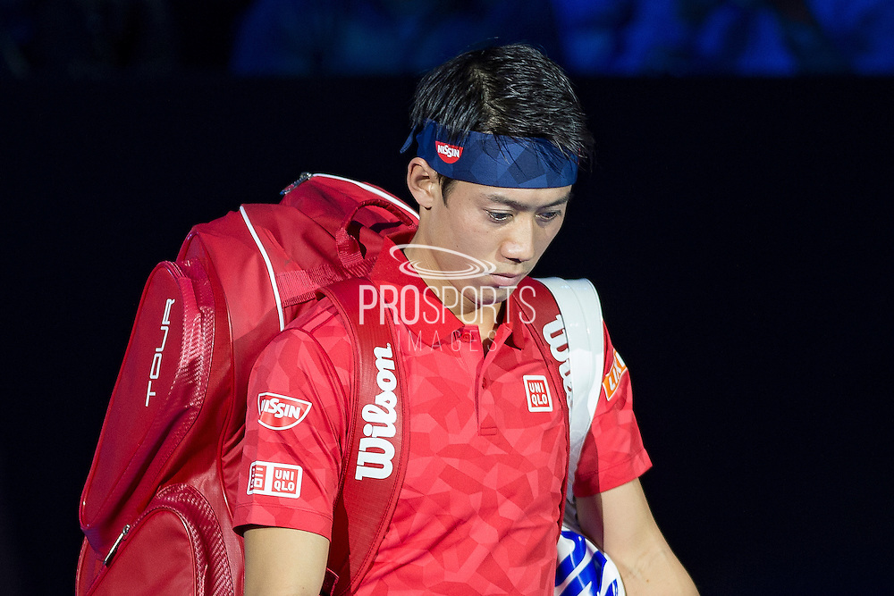 Kei Nishikori of Japan enters the arena during day six of the Barclays ATP World Tour Finals at the O2 Arena, London, United Kingdom on 18 November 2016. Photo by Martin Cole.