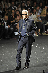 Designer Karl Lagerfeld makes an appearance on the catwalk for Chanel Fall-Winter 2011-2012 Haute-Couture collection presentation held at the Grand Palais in Paris, France on July 5, 2011. Photo by Roberto Martinelli/ABACAPRESS.COM