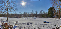 Snowy Backyard Panorama in New Jersey. Composite of six images taken with a Leica T camera and 18-56 mm lens (ISO 100, 18 mm, f/14, 1/640 sec)