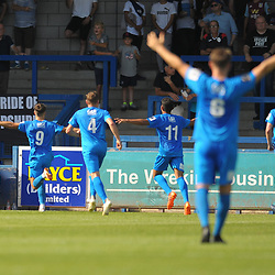 TELFORD COPYRIGHT MIKE SHERIDAN GOAL. Josh March of Leamington celebrates after he scores to make it 1-1 during the National League North fixture between AFC Telford United and Leamington AFC at the New Bucks Head on Monday, August 26, 2019<br /> <br /> Picture credit: Mike Sheridan<br /> <br /> MS201920-005