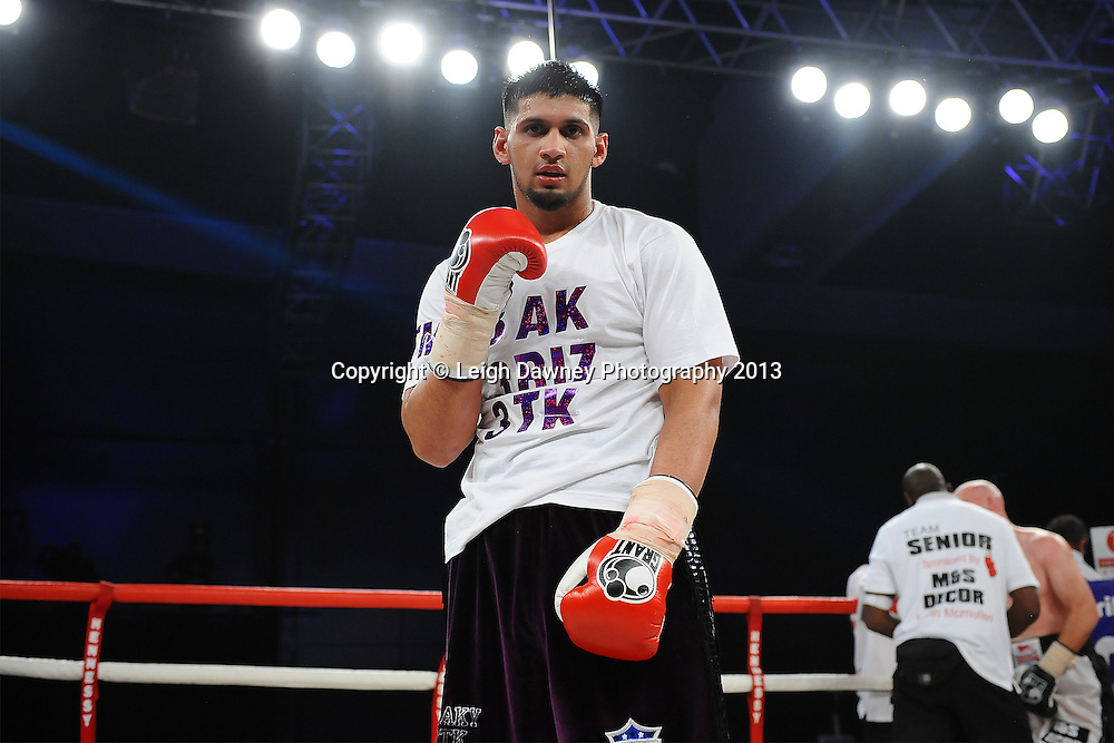 Arfan Iqbal defeats Leon Senior in a Light Heavyweight contest. Glow, Bluewater, Kent, UK. Hennessy Sports © Leigh Dawney Photography 2013.