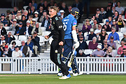 Sam Curran (Surrey) celebrates his wicket during the Royal London 1 Day Cup match between Surrey County Cricket Club and Kent County Cricket Club at the Kia Oval, Kennington, United Kingdom on 12 May 2017. Photo by Jon Bromley.