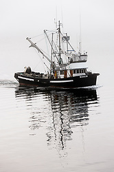 A fishing boat slowly makes its way through the fog in Auke Bay near Juneau, Alaska.