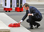LONDON. UK. The Prime Minister David Cameron lays a wreath on the Cenotaph in Whitehall on behalf of the nation to remember those that gave their lives in WWII. HRH Prince Charles and Duchess of Cornwall attend the 65th Anniversary of Japan's WWII surrender. Today marks VJ day, the anniversary of Japan's surrender to allied forces and the end of the Second World War in 1945. The Allies had delivered Japan an ultimatum to surrender on 28 July 1945. However, this was ignored and the US then dropped atomic bombs on Hiroshima on 6 August and on Nagasaki on 9 August. While 15 August is celebrated as the day of the surrender, the Japanese administration under General Koiso Kuniaki officially did not deliver the signed surrender document until 2 September, which is also known as VJ Day.15 August 2010. STEPHEN SIMPSON..