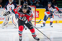 KELOWNA, CANADA - NOVEMBER 30: Colton Heffley #25 of the Kelowna Rockets skates against the Kamloops Blazers on November 30, 2013 at Prospera Place in Kelowna, British Columbia, Canada.   (Photo by Marissa Baecker/Shoot the Breeze)  ***  Local Caption  ***