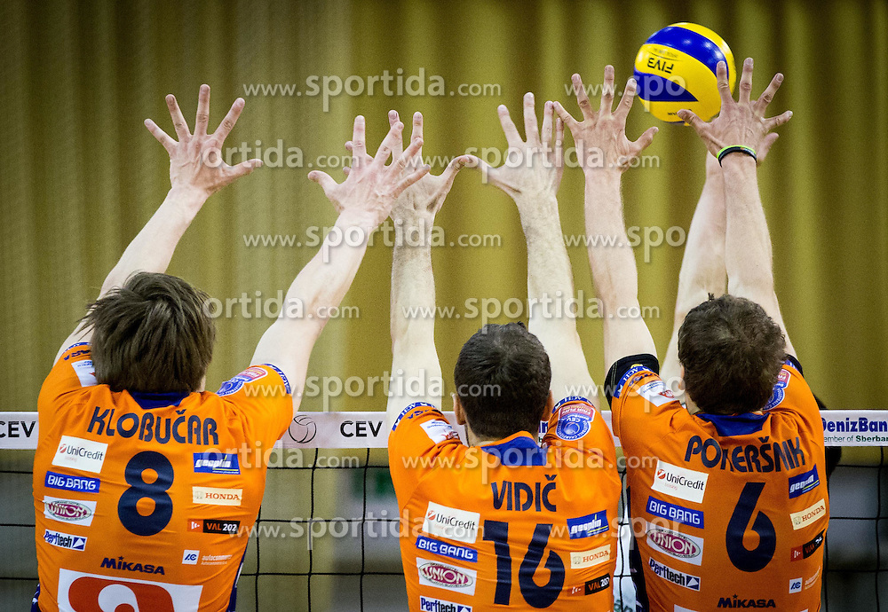 Jan Klobucar of ACH, Matej Vidic of ACH and Jan Pokersnik of ACH during volleyball game between OK ACH Volley and OK Panvita Pomgrad in 1st final match of Slovenian National Championship 2013/14, on April 6, 2014 in Arena Tivoli, Ljubljana, Slovenia. Photo by Vid Ponikvar / Sportida