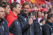 Jurgen Klopp (Manager) (Liverpool) before the Barclays Premier League match between Liverpool and Stoke City at Anfield, Liverpool, England on 10 April 2016. Photo by Mark P Doherty.