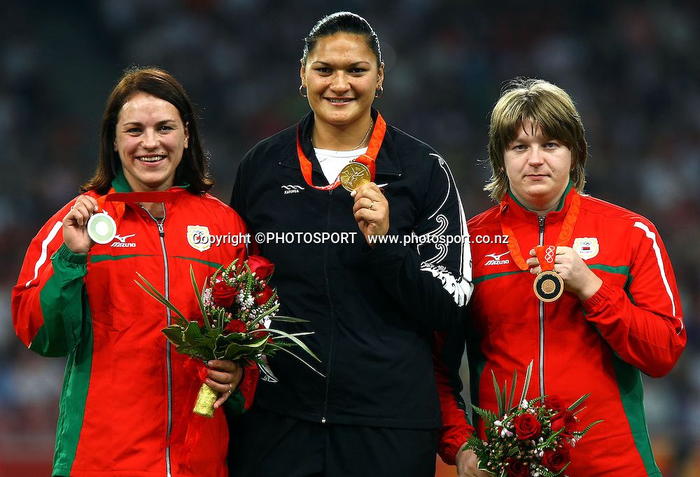 Olympic champion shotputter Valerie Vili collects her gold at the Beijing Olympic Games. 17 August 2008. Photo: Lawrence Smith/PHOTOSPORT
