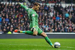 Derby Goalkeeper Adam Legzdins (ENG) clears upfield during the first half of the match - Photo mandatory by-line: Rogan Thomson/JMP - Tel: Mobile: 07966 386802 19/01/2013 - SPORT - FOOTBALL - Pride Park - Derby. Derby County v Nottingham Forest - npower Championship. The meeting of these two local sides is known as the East Midlands Derby with the winner claiming the Brian Clough Trophy.