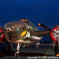 A restored and flying B-25 World War II bomber in a light painting in Westminster, MD. This plane is one of only 2 B-25's still flying in the United States and is maintained by the Collings Foundation.  Exposure was 2.5 minutes.