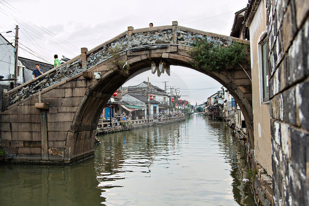 The Xinmin stone bridge along Shantang canal in Suzhou, China.